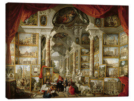 Canvastavla  Gallery with pictures of Modern Rome - Giovanni Paolo Pannini