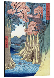Aluminiumtavla  The monkey bridge in the Kai province - Utagawa Hiroshige