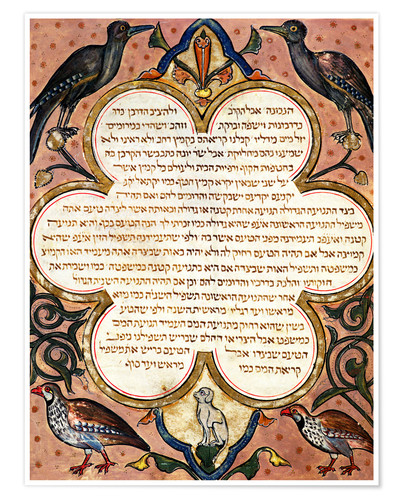 Premiumposter Page from a Hebrew Bible with birds
