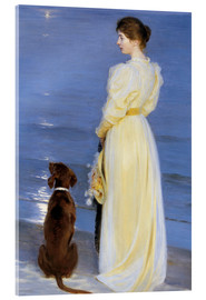 Akrylglastavla  Summer Evening at Skagen. The Artist's Wife and Dog by the Shore - Peder Severin Krøyer