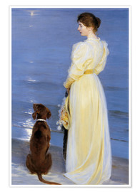 Poster  Summer Evening at Skagen. The Artist's Wife and Dog by the Shore - Peder Severin Krøyer