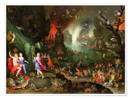 Premiumposter Orpheus with a Harp Playing to Pluto and Persephone in the Underworld