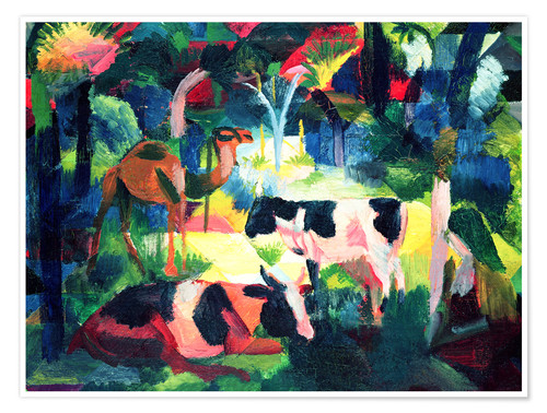 Premiumposter Landscape with Cows and a Camel