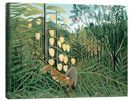 Canvastavla  Tiger attacks a buffalo - Henri Rousseau
