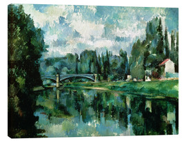 Canvastavla  The Banks of the Marne at Creteil - Paul Cézanne