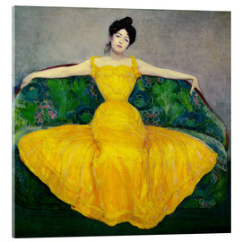 Akrylglastavla  Lady in a yellow dress - Maximilian Kurzweil