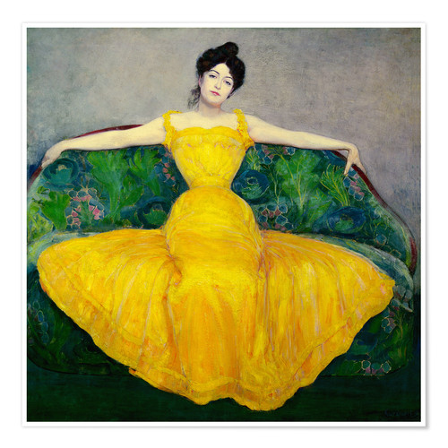 Premiumposter Lady in a yellow dress