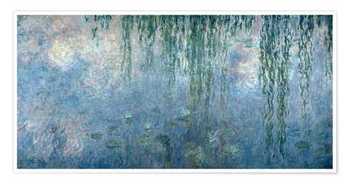 Premiumposter Waterlilies: Morning with Weeping Willows