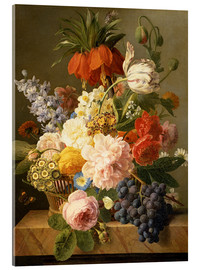 Akrylglastavla  Still Life with Flowers and Fruit - Jan Frans van Dael