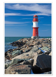 Premiumposter Lighthouse on the Baltic Sea coast in Warnemuende (Germany)