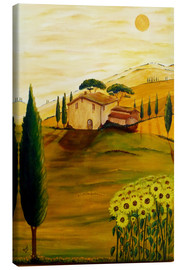 Canvastavla  Sunflowers in Tuscany - Christine Huwer