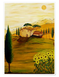 Premiumposter Sunflowers in Tuscany