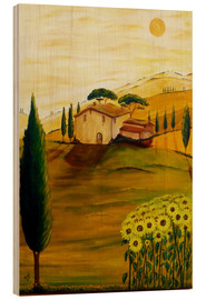 Trätavla  Sunflowers in Tuscany - Christine Huwer