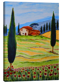 Canvastavla  Flowering Poppies of Tuscany 4 - Christine Huwer