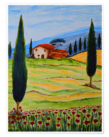 Premiumposter  Flowering Poppies of Tuscany 4 - Christine Huwer