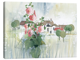 Canvastavla  Rural Impression with hollyhocks - Franz Heigl