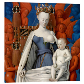 Akrylglastavla  Virgin and Child Surrounded by Angels - Jean Fouquet