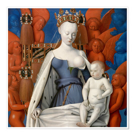 Premiumposter  Virgin and Child Surrounded by Angels - Jean Fouquet