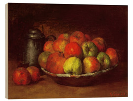 Trätavla  Still Life with Apples and a Pomegranate - Gustave Courbet