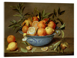 Akrylglastavla  Still Life with Oranges and Lemons - Jacob van Hulsdonck