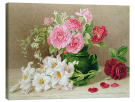 Canvastavla  Roses and lilies - Mary Elizabeth Duffield