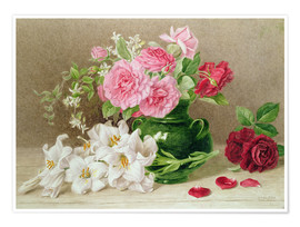 Premiumposter  Roses and lilies - Mary Elizabeth Duffield