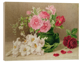 Trätavla  Roses and lilies - Mary Elizabeth Duffield