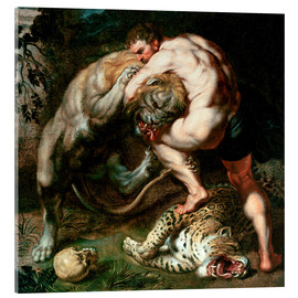 Akrylglastavla  Hercules Fighting the Nemean Lion - Peter Paul Rubens