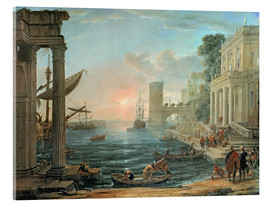 Akrylglastavla  Seaport with the Embarkation of the Queen of Sheba - Claude Lorrain