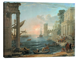 Canvastavla  Seaport with the Embarkation of the Queen of Sheba - Claude Lorrain