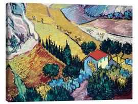 Canvastavla  Landscape with House and Ploughman - Vincent van Gogh