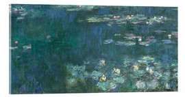 Akrylglastavla  Water Lilies, Green Reflections 2 - Claude Monet