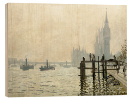 Trätavla  The Thames below Westminster - Claude Monet