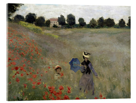 Akrylglastavla  Poppy field at Argenteuil, detail - Claude Monet
