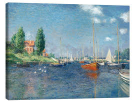 Canvastavla  Red boats at Argenteuil - Claude Monet