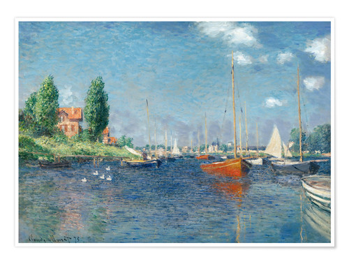 Premiumposter Red boats at Argenteuil