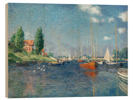 Trätavla  Red boats at Argenteuil - Claude Monet