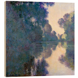 Trätavla  Morning on the Seine - Claude Monet