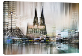 Canvastavla  Abstract skyline in Cologne, Germany - Städtecollagen