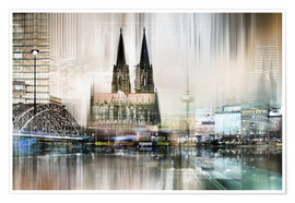 Poster  Abstract skyline in Cologne, Germany - Städtecollagen