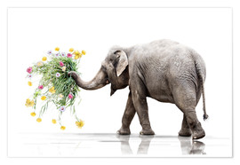 Premiumposter Elephant with Flower
