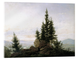 Akrylglastavla  View into the Elbe valley - Caspar David Friedrich