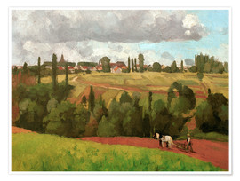 Premiumposter Landscape with Peasant Ploughing
