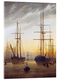 Akrylglastavla  View of a harbor - Caspar David Friedrich