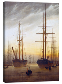 Canvastavla  View of a harbor - Caspar David Friedrich
