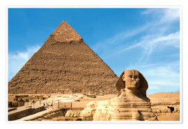 Premiumposter  Sphinx in front of the Great Pyramid - Miva Stock