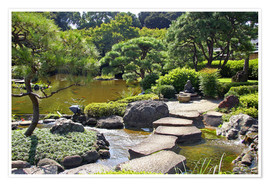 Premiumposter Japanese garden with pond