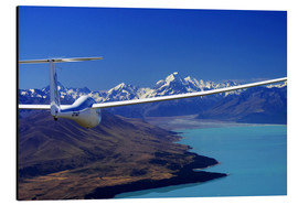 Aluminiumtavla  Glider over Lake Pukaki - David Wall