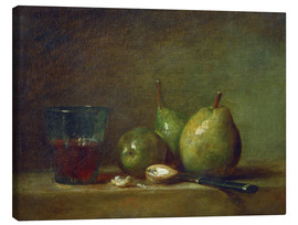 Canvastavla  Pears, nuts, and a cup of wine - Jean Simeon Chardin
