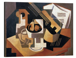 Aluminiumtavla  Guitar and fruit bowl - Juan Gris